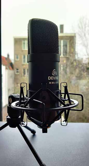 Close-up of studio microphone