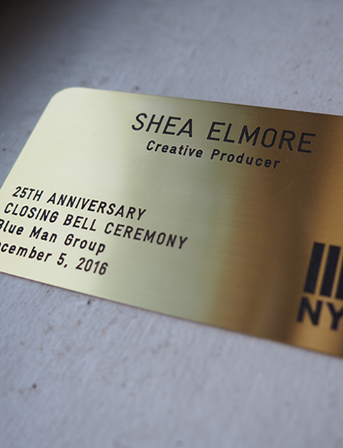 Badge for Shea Elmore as Creative Producer during Blue Man Group's closing bell ceremony at the New York Stock Exchange, December 5, 2016